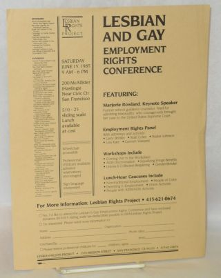 Lesbian and Gay employment rights conference [handbill & brochure] Saturday June 15, 1985