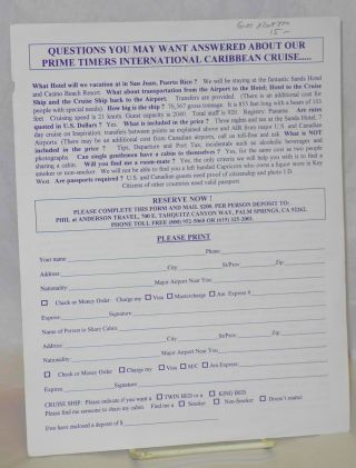 Handbill/mailer: Our Prime Timers ten day Beach Casino Hotel and Caribbean Cruise package in November 1996