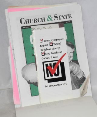 Church & State newsletters, collection of press clippings and broadcast log, report, brochures etc.