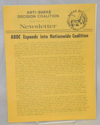 Newsletter. Vol. 1 no. 1 (January 1978). Anti-Bakke Decision Coalition