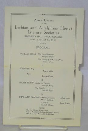 Annual contest of the Lesbian and Adelphian Honor Literary Societies, Brodbeck Hall, Hood...