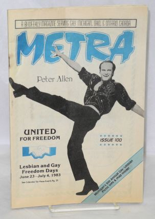 Metra: a bi-weekly magazine serving gay Michigan, Ohio, & Ontario Canada; #100, June 23, 1983:...