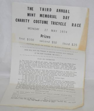 The Third Annual Mint Memorial Day Charity Costume Tricycle Race: [handbill] Monday 27, May 1974