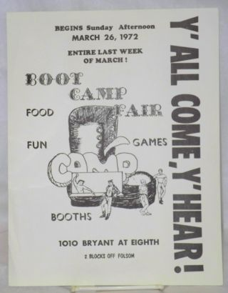 Boot Camp Fair: y'all come, y'hear! [handbill] begins Sunday afternoon March 26, 1972