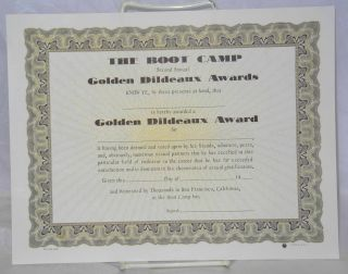 The Boot Camp second annual Golden Dildeaux Awards [certificate