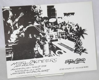 Merl Saunders and friends [handbill] Monday 21st/28th August 1978 Wednesday 23rd with John Kahn...