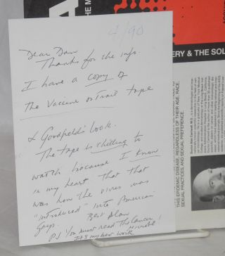 Two handwritten notes signed by Cantwell with several other materials relating to Cantwell