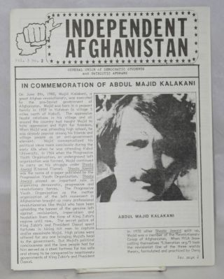 Independent Afghanistan. Vol. 3 no. 2. General Union of Democratic Students, Patriotic Afghans,...