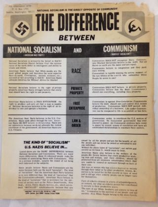 The difference between National Socialism and Communism. American Nazi Party
