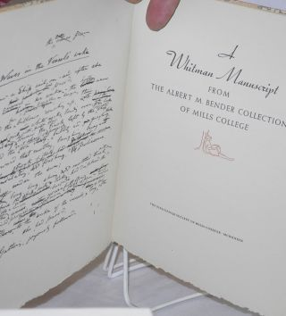 A Whitman Manuscript from the Albert M. Bender Collection of Mills College. Foreword by Oscar Lewis.