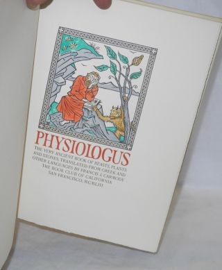 Physiologus: the very ancient book of beasts, plants and stones, translated from Greek and other languages by Francis J. Carmody