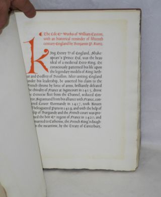 An Original Leaf from the Polycronicon Printed by William Caxton at Westminster in the Year 1482