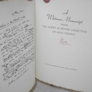 A Whitman manuscript from the Albert M. Bender collection of Mills College