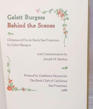 Behind the scenes: glimpses of Fin de Siècle San Francisco