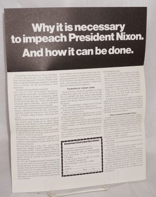 On September 30, 1973 the ACLU Board of Directors called for the impeachment of President Nixon. What is the ACLU, and why are they calling for impeachment?