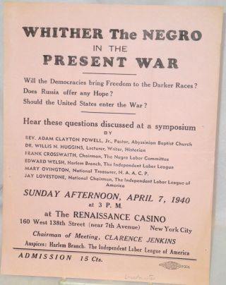 Whither the Negro in the present war. Will the democracies bring freedom to the darker races?...