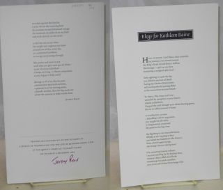 Elegy for Kathleen Raine [folded broadside] signed by Reed. Jeremy Reed
