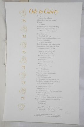 Ode to Gaiety [broadside]. James Broughton