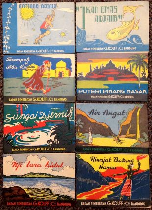 [Eight different Indonesian children's story booklets]