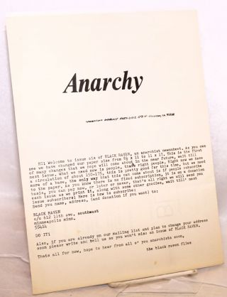 Black Raven, vol. 1 no. 6 (July 24, 1973). [cover title: Anarchy