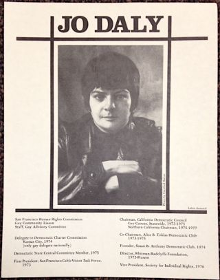 Jo Daly [handbill with portrait and brief CV]. Jo Daly, photo bt Crawford Barton