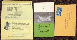 I give and Bequeath [brochure with printed donation envelope and pre-stamped reply envelope]