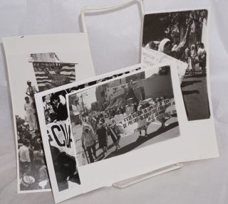 Four b&w photographs of a Salvadoran march
