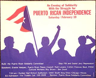 An evening of solidarity with the struggle for Puerto Rican independence [poster