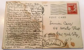Postcard from Seattle with handwritten message to Lucien Carr and Aileen [Lee] dated August 30,...