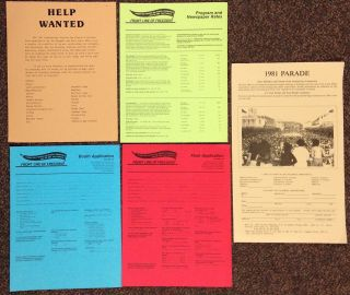 Group of five handbills, including three different applications and a leaflet soliciting...