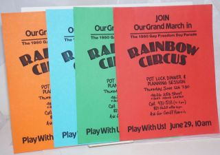 Rainbow Circus: Join our grand march in the 1980 Gay Freedom Day Parade. [four handbills in...