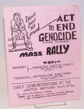 Don't just sit around - Act to end genocide (mass murder). Mass rally [handbill