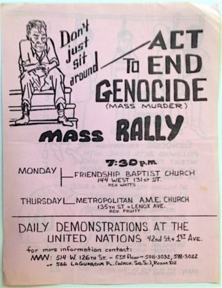 Don't just sit around - Act to end genocide (mass murder). Mass rally [handbill]