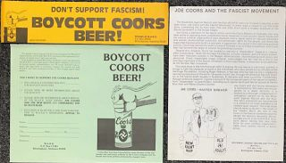 Three items related to the Coors boycott]. Movement Against Racism, the Klan, MARK