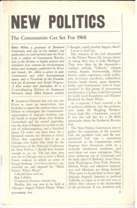 New politics, the Communists get set for 1968. Gary Allen