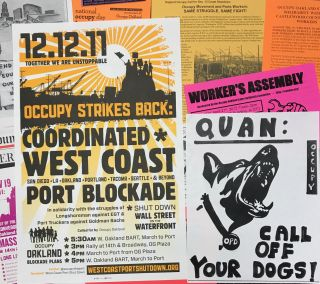 [Occupy Oakland: lot of eleven posters and nineteen additional leaflets and pamphlets]