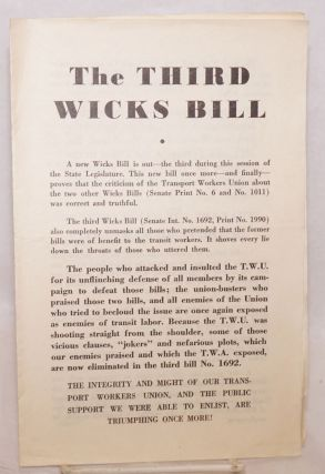 The third Wicks Bill. Transport workers Union of America. Local 100. Executive Board