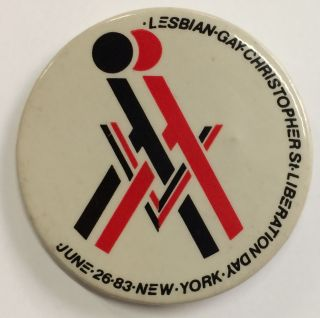 Lesbian - Gay Christopher St. Liberation Day / June 26, 83. New York [pinback button