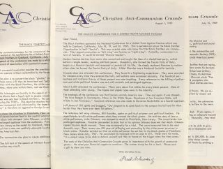 Eight newsletters, with related materials]. Fred Schwarz, Christian Anti-Communism Crusade