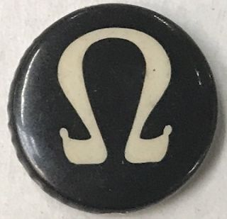 [Pinback button with the Omega symbol for resistance to the Vietnam War]
