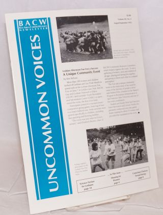 Uncommon Voices: BACW newsletter; vol. 12, #4, August/Spetember 1992. Bay Area Career Women