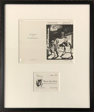 "The Black Cat Cafe; ""Bohemia of the Barbary Coast"" [greeting card, framed with an original business card for manager Travis Dick]"