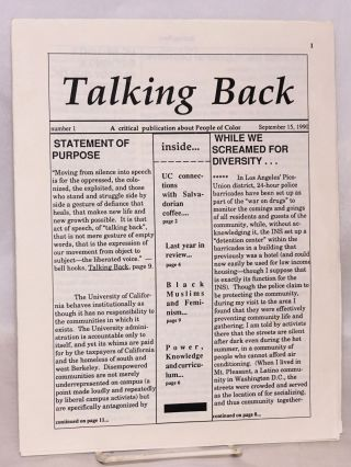 Talking Back. A critical publication about people of color. No. 1 (Sept. 15, 1990
