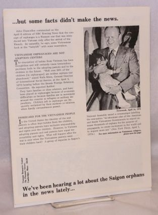We've been hearing a lot about the Saigon orphans in the news lately... but some facts didn't make the news