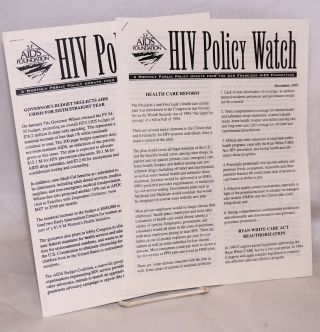 HIV Policy Watch: a monthly public policy update from the San Francisco AIDS Foundation; December...