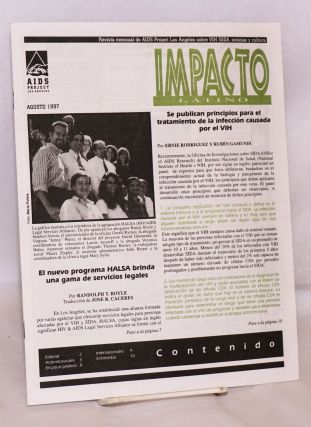 Impacto Latino: revista mensual de AIDS Project Los Angeles sobre VIH/SIDA, noticias y culturas; Agosto 1997