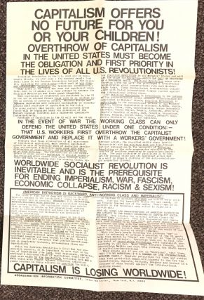 Capitalism offers no future for you or your children!... [double-sided poster]. Assassination Information Committee, William Depperman.