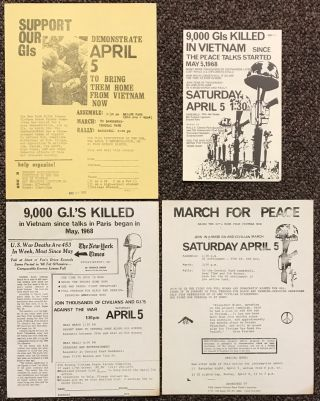 Four leaflets announcing the April 5, 1969 rally against the Vietnam War in Central Park