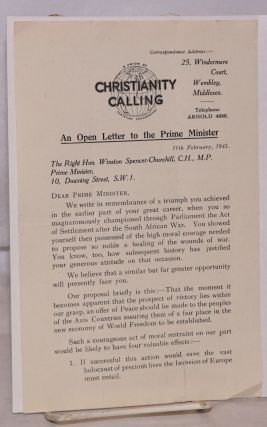 An Open Letter to the Prime Minister 11th February, 1943. Vera Brittain
