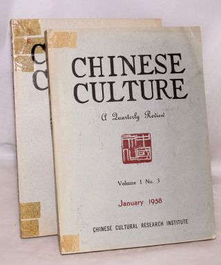 Chinese Culture. A Quarterly Review [two issues: volume 1 no. 3, volume 2 no. 1